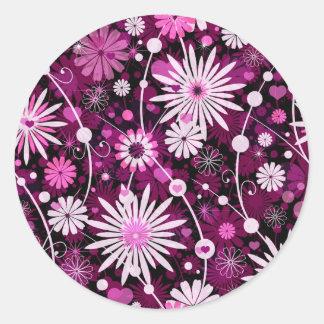バレンタインの花柄パターン ラウンドシール