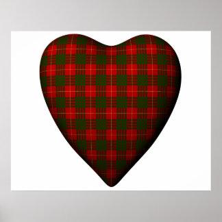 バレンタインの赤いハートのスコットランド人のカメロンのタータンチェック ポスター