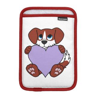バレンタインの赤い犬-炎及び薄紫のハート iPad MINIスリーブ