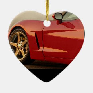 バレンタインの赤コルベット セラミックオーナメント