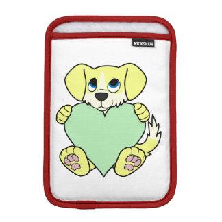 バレンタインの野良犬-炎及び薄緑のハート iPad MINIスリーブ