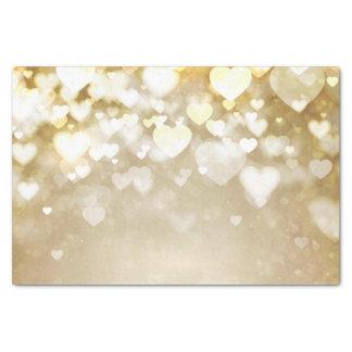 バレンタインの金ゴールドの《写真》ぼけ味のハート 薄葉紙