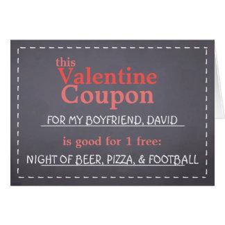バレンタインの黒板のクーポン カード