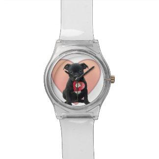 バレンタインの(犬)スタッフォードのブルテリアの子犬 腕時計