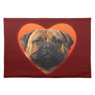 バレンタインのbullmastiffのアメリカ人Mojo ランチョンマット