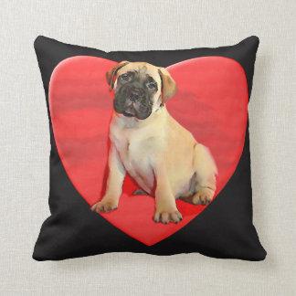 バレンタインのBullmastiffの子犬の枕 クッション
