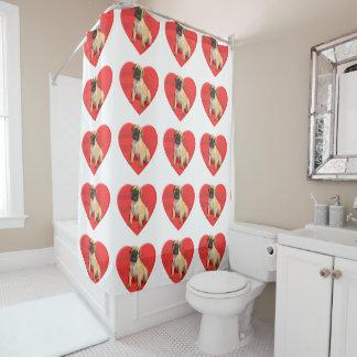 バレンタインのbullmastiff犬のシャワー・カーテン シャワーカーテン