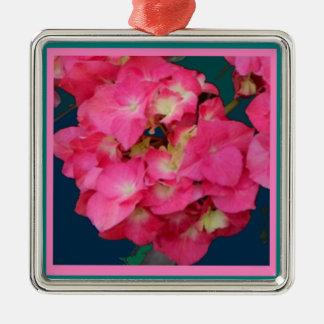 バレンタインのSharles著ピンクのアジサイ及びティール(緑がかった色)のギフト メタルオーナメント