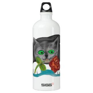 バレンタインは灰色の子ネコからのあなたのために上がりました ウォーターボトル