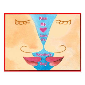 バレンタインは私に速く接吻します ポストカード