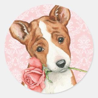 バレンタインばら色のBasenji ラウンドシール