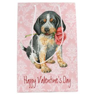 バレンタインばら色のBluetick ミディアムペーパーバッグ