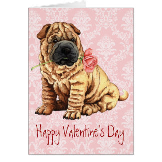 バレンタインばら色のShar-Pei カード