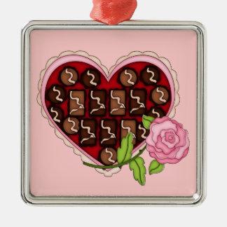 バレンタインキャンデーのハートのピンクのバラ メタルオーナメント