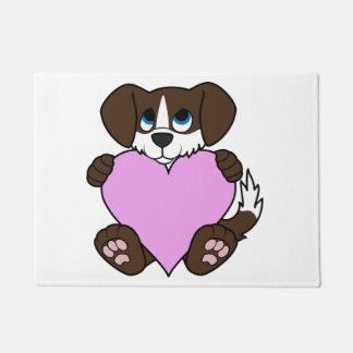 バレンタインチョコレート犬-炎及び淡いピンクのハート ドアマット