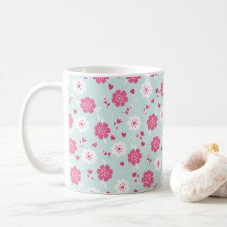 バレンタインデーによってはハートのピンクが開花します コーヒーマグカップ