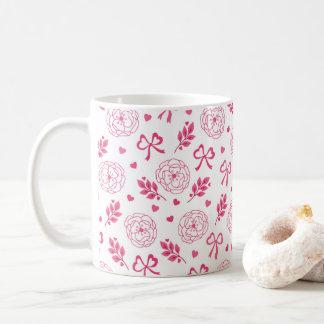 バレンタインデーによってはリボンのハートのピンクが開花します コーヒーマグカップ