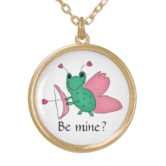 バレンタインデーのかわいく、おもしろいなカエルのキューピッド ゴールドプレートネックレス