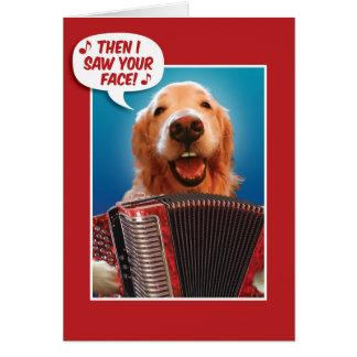 バレンタインデーのアコーディオン遊ぶゴールデン・リトリーバー カード