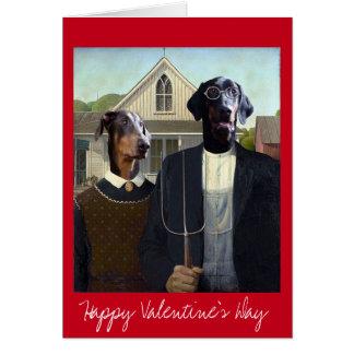 バレンタインデーのアメリカのゴシック様式おもしろいなドーベルマン犬犬 カード
