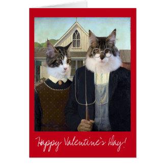 バレンタインデーのアメリカのゴシック様式おもしろいな猫 カード