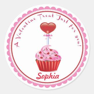 バレンタインデーのカップケーキの棒つきキャンデーのステッカー ラウンドシール