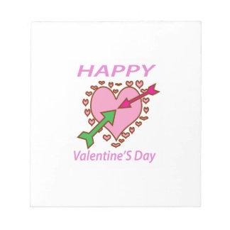 バレンタインデーのギフトのロマンチックなハートnの矢のおもしろい ノートパッド