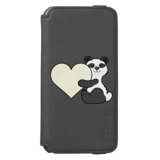 バレンタインデーのクリーム色のハートのかわいいパンダくま INCIPIO WATSON™ iPhone 6 財布ケース