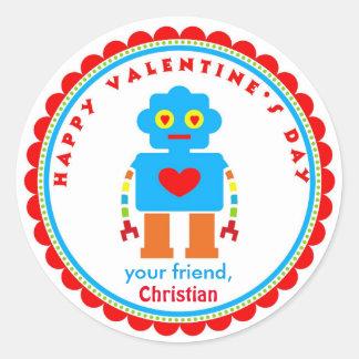 バレンタインデーのステッカーのロボットステッカー ラウンドシール
