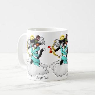 バレンタインデーのタキシードのキューピッド猫 コーヒーマグカップ