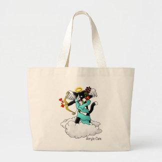 バレンタインデーのタキシードのキューピッド猫 ラージトートバッグ