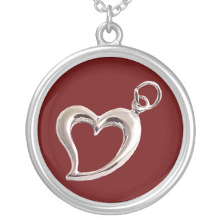 バレンタインデーのハートのネックレス シルバープレートネックレス
