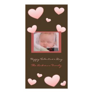 バレンタインデーのハートの写真カード カード