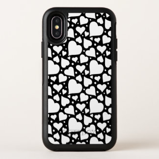 バレンタインデーのハートパターン。 カスタムなBGは着色します! オッターボックスシンメトリー iPhone X ケース