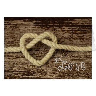 バレンタインデーのハートロープの素朴な愛 カード