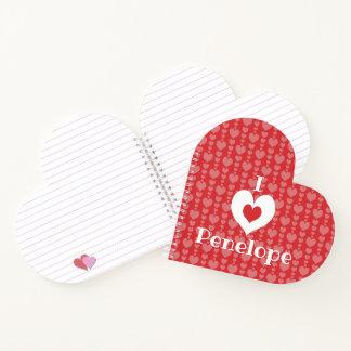 バレンタインデーのハート形のノートIのハート ノートブック