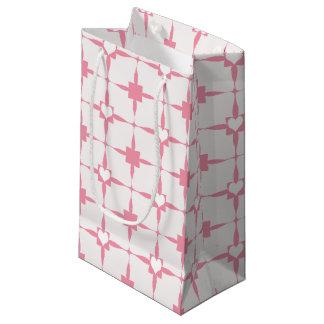 バレンタインデーのピンクおよび白いハートパターン スモールペーパーバッグ
