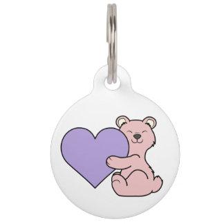 バレンタインデーのピンクくま-薄紫のハート ペット ネームタグ