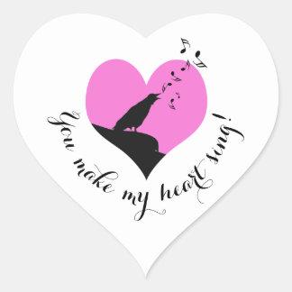 バレンタインデーのピンクのハートの歌 ハートシール