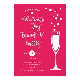 バレンタインデーのブランチ及び泡招待状 カード