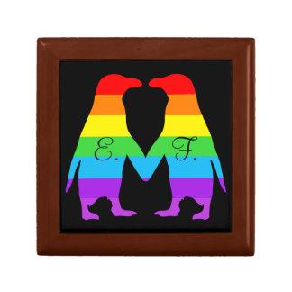 バレンタインデーのペンギン-あなたのイニシャルを加えて下さい ギフトボックス