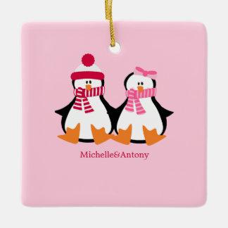 バレンタインデーのペンギン セラミックオーナメント
