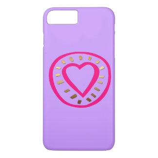 バレンタインデーのモダンなピンクのハート2のIphoneの場合 iPhone 8 Plus/7 Plusケース
