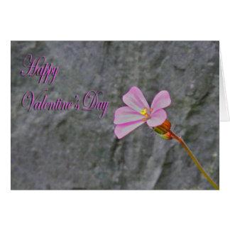 バレンタインデーの敏感なピンクの花および石 カード