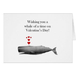 バレンタインデーの時間のクジラを望みます カード