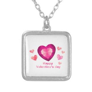 バレンタインデーの正方形のペンダントのネックレス シルバープレートネックレス