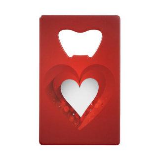 バレンタインデーの白いハート-カスタマイズ クレジットカード栓抜き