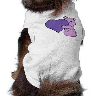 バレンタインデーの薄紫のくま-すみれ色のハート ペット服