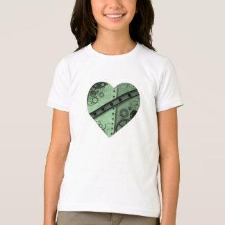 バレンタインデーの薄緑および黒いsteampunkのhea tシャツ