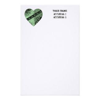 バレンタインデーの薄緑のsteampunkのハート 便箋